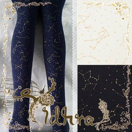 Wholesale Lolita Socks - Princess sweet lolita pantyhose Autumn and winter style galaxy night constellation starry sky Black velvet pantyhose LKW50 4-4
