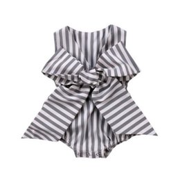 Wholesale Comfortable Baby Girl Clothes - INS Baby girls stripes rompers summer new back V-neck Big Bows sleeveless jumpsuits for toddler kids comfortable diaper clothes Y6039