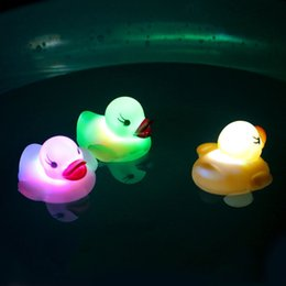 Wholesale Drop Ship Vinyl - 6 Color Funny Cartoon Vinyl Glowing Duck Led Light Water Sensor For Baby Kids Bathroom Shower Drop Shipping