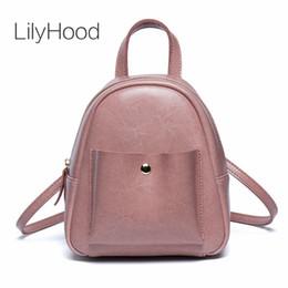 a4cffd3d3073 LilyHood PU Leather Mini Backpack 2018 Teenager Women Korean Style Trendy  Fashion Cute Simple Pink Black Small Feminine Rucksack