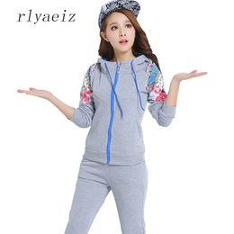 Wholesale korean women sport set - RLYAEIZ Korean Hooded Zipper Printed Sporting Suits Women Two Piece Set 2017 Suit Women Tracksuits Hoodies + Pants Sporting Wear