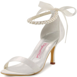 white satin bridal flats Promo Codes - EP11053 Ivory White Women Shoes High Heels Peep Toe Party Bridal Sandals Pearls Ankle Straps Satin Bride Dress Wedding Shoes