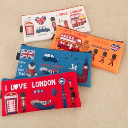 london cases Coupons - Creative vintage London Travel Pencil Case kawaii canvas pencil bag box office Stationery Pen Bag Gift for Student escolar
