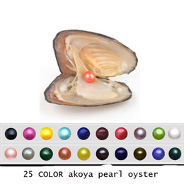 Wholesale natural black pearls jewelry - 2018 Akoya Oyster Pearl 6-7mm 25 mix Color Freshwater Natural pearl Gift DIY Jewelry Decorations Vacuum Packaging Wholesale Free shipping