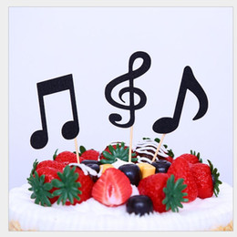 Wholesale paper music notes - Multiple colors Music Notes Themed Cupcake Topper Paper Cake Inserts Card Wedding Cake Topper Decoration musical note Birthday Party Gifts