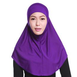 Wholesale Muslim Long Scarf - New Muslim Women Two- Piece Hijab High Quality Islamic Long Headscarf Mulim Full Cover Pure Shawl