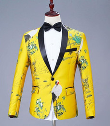 scialli jacquard Sconti Mens Fashion Scialle Risvolto Jacquard Red-crowned Crane Blazer Gold Yellow Party Cantanti Costume da sposa Groom Suit Jacket