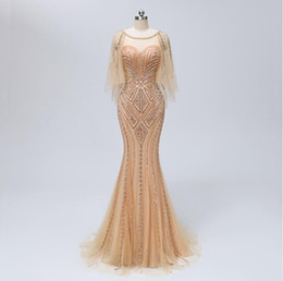 Blagues de soirée en Ligne-2018 perles scintillantes sirène robes de bal scoop cou longueur de plancher sexy corsage robes de soirée dos nu robe formelle sur mesure WJ5154