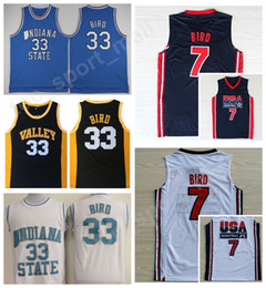 Wholesale Indiana Jersey - Indiana State Sycamores 33 Larry Bird College Jerseys Springs Valley USA 1992 Dream Team One High School 7 Larry Bird Basketball Jerseys