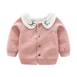 Tenue coréenne mignonne en Ligne-Poupée collier bébé fille manteaux à manches longues mignon bébé fille vêtements en coton style coréen bébé fille tenues 18080901