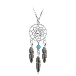 Wholesale turquoise tassel necklace jewelry - Ancient Silver Indian Dream catch Tassel Feather Pendant Necklace Necklaces for Women Hope Turquoise Dreamcatch Jewelry Gift BY DHL 161814