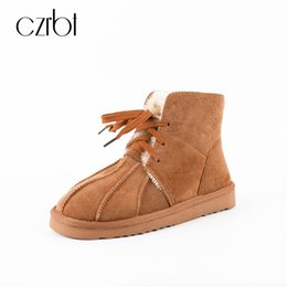 Wholesale Snow Boots Sheep - CZRBT Classical Best Keep Warm Natural Sheep Leather and Wool Women Casual Flats Shoes Winter Fur Snow Boots High Top Handmade