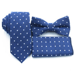 Wholesale navy blue bow ties - light Navy blue ties, white polka dot bow tie pocket towel, boutique cotton necktie, deep blue men's bow tie