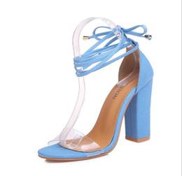 Cinghie trasparenti per le scarpe online-vendita calda concisa caviglia cinghia sandali con fibbia chiari trasparenti sandali tallone pattini delle donne A191