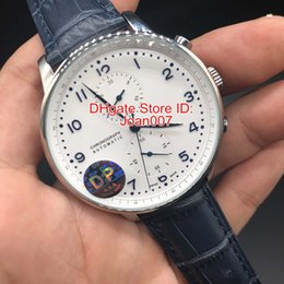 green leather watch strap Coupons - DP Factory Make Luxury Watch Blue Face Stable Automatic Movement No Chronograph Blue Leather strap Original Clasp Best Quality Men's Watch