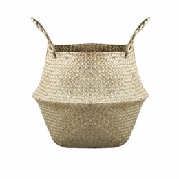 Wholesale Natural Baskets - New Household Foldable Natural Seagrass Woven Storage Pot Garden Flower Vase Hanging Basket With Handle Storage Bellied Basket