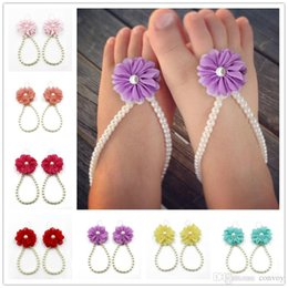 Wholesale lace flower sandals - Baby Foot Flower Sandals Simulated Pearl Anklets baby Barefoot Sandals Baby Girls Foot Band Toe Rings Foot ornament KFA21