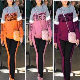 Wholesale Girl Sport Cloth - Women Love Pink Tracksuit VS Sportswear Long-sleeve Hoodie with Track pants 2 pcs Sport Suits BIg size Women's girls gym Outfit casual cloth