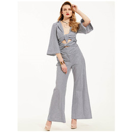 Wholesale Womens Party Clubwear - Fashion Women Sexy Bow Deep V-neck Striped Clubwear Long Playsuit Bodycon Party Jumpsuit&Romper Stylish Womens Jumpsuits