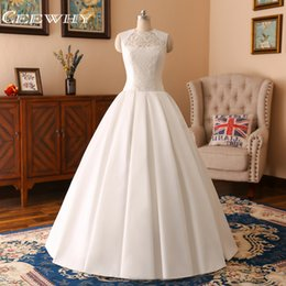 Wholesale Korean Style Wedding Gowns - CEEWHY Korean Style O-Neck Ball Gown High Quality Wedding Dresses 2018 Vestido de Noiva Plus Size Bridal Dress Real Photo