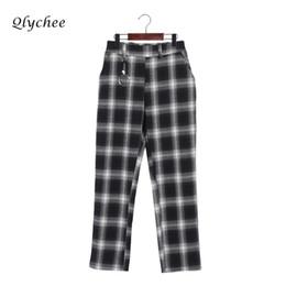 Wholesale Full Length Rings - Qlychee Metal Ring Plaid Pants Women Pockets High Waist Loose Long Straight Zipper Female Trousers Pants Bottom