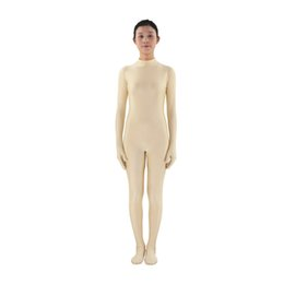 Wholesale Unitard Costume Sexy - Full Body Long Sleeve round collar Unitard Lycra Bodysuit Nylon Custom Nude color Footed Catsuit