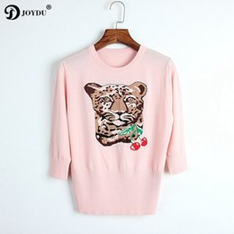 Wholesale cherry t shirt - JOYDU 2018 New Knitted Top Summer t shirt Runway Design T-shirts for Women Leopard Head Cherry Jacquard female T-shirt Top Tees