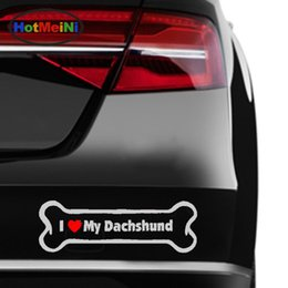 Wholesale Auto Glass Accessories - Wholesale Vinyl Decal Car Stickers Glass window Windshield Bumper Door SUV Auto Accessories Jdm Dog Bone Magnet I Love My Dachshund