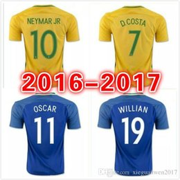 Wholesale Viscose Clothing - ^_^ Wholesale 2016 brazil home player version slim fit soccer jersey custom name number Top quality soccer uniform football jersey clothing