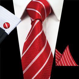 2019 conjunto de lenços cufflinks Mantieqingway 8 CM formal gravatas para homens de negócios listrado gravatas de casamento lenço abotoaduras conjuntos para homens terno conjunto de lenços cufflinks barato