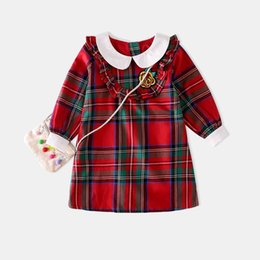 Wholesale Girl Peter - Retail Spring Autumn Girls Dresses Red Plaid Embroidery Peter pan Collar Long Sleeve Princess Dress Children Clothes QG001