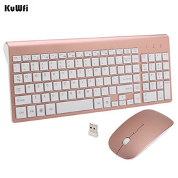 Wholesale Gaming Laptop Wireless - KuWFi 2.4GHz Wireless Keyboard And Mouse Combo URCO Upgraded 102 Keys Ultra Thin For PC Laptop Gaming Home Keyboard Mouse 1Set