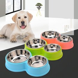 Wholesale Plastic Cat Bowls - Pet Supplies Dog Bowl Double Stainless Steel Plastic Cat Food Eating Bowls Water Container for Dogs