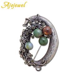 Broches de hadas online-Ajojewel Old Tree Root Fairy Tale Semipreciosa Piedra Vintage Broche Pins Para Las Mujeres Diseño Original Regalo de Fiesta Joyería Fina