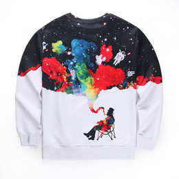 Wholesale L Smoke - Autumn Winter Fashion Funny Print Smoking Person Print Pullover Hoodies Men Long Sleeve O -Neck Sweatshirts Hot Sale Men 'S Hoodie