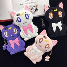 Wholesale Crystal Silicone Case - Case For iPhone X MC Fashion Cute Japanese Cartoon Sailor Moon Crystal Luna Cat Protective Silicone Case for Apple iPhone 6S Plus