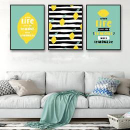 pinturas de limón Rebajas Estilo nórdico abstracto lienzo impresión HD cartel de la pared de dibujos animados Fruit Life Lemon Picture Paintings sala de estar de la vendimia decoración del hogar