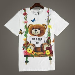 Wholesale top toys for women - Toy Bear Cotton T shirt for women Crew-neck short sleeve bear print women's top tees