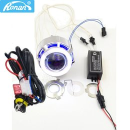 Wholesale motorcycle headlight lenses - RONAN 2.0inch Motorcycle Bi Xenon HID Projector Lens with Double CCFL Angel Eyes wire for H4 H7 Headlight Retrofit Use Xenon H1