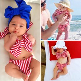9b8f453860192 Children swimsuit girls swimwear bikini swim baby kids clothing red striped  fashion bowknot summer clothes B11