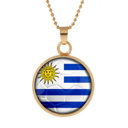 uruguay world cup Promo Codes - New Three-dimensional 2018 World Cup Uruguay Necklace Pendant colorful pendant Glass Cabochon Dome Necklaces jewelry customed