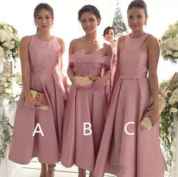 Wholesale Hot Pink Tea Dress - 2018 Tea Length Blush Pink Bridesmaid Dresses Hot Sale tea length prom dresses Custom Made Satin Prom Party Gowns Short Maid of Honor Dress