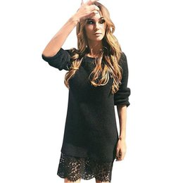 Wholesale Sexy Club Jumpers - Wholesale- Lace Vestidos 2017 Good Quality Women Warm Knitted Sweater Jumper Dress Long Sleeve Sexy Party Club Mini Dresses Robe Plus Size