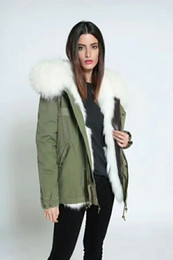 Wholesale Uk Bamboo - Women military Green jacket fox furs lining Ladies mini parkas hood with big raccoon fur collar UK USA Sweden