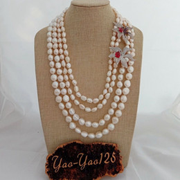 AB102406 5 Strands White Pearl Necklace CZConnector 19/'/'