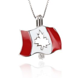 Wholesale canadian flags - New arrivals 2pcs 925 Sterling Silver Canadian Flag Pearl Cage pendants, 19.8*19.3*8.8mm, Free Shipping