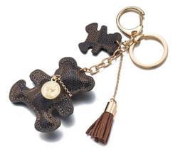 Wholesale bag jewelry - pairs designer logo Accessories Tassel Key Ring PU Leather Bear Pattern Car Keychain Jewelry Bag Charm