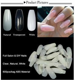 600 teile / beutel Nail art Transparente Natürliche Falsche Nägel Kunst Tipps Flache Form Volle Deckung Maniküre Gefälschte Nagelspitzen von Fabrikanten
