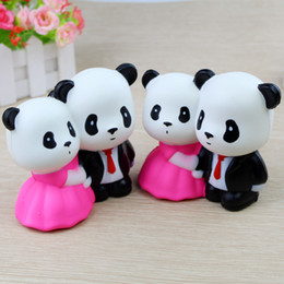 Wholesale novelty wedding gifts - Couple Wedding Panda Squishy Toy 11CM Slow Rising Collection Gift Kid cute Toy Gift Novelty Items FFA258