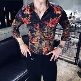 0ea73323193 2018 personality long-sleeved shirt men s summer Korean trend hair stylist  Slim print social guy floral male shirt